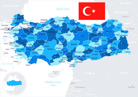 geographical locations: Turkey map and flag - highly detailed vector illustration