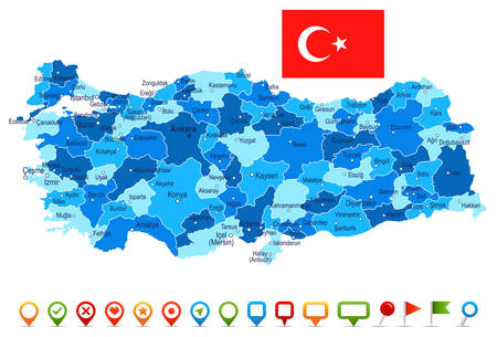 Turkey map and flag - highly detailed vector illustration