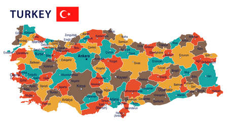 Turkey map and flag - highly detailed vector illustration Stock Vector - 78398070