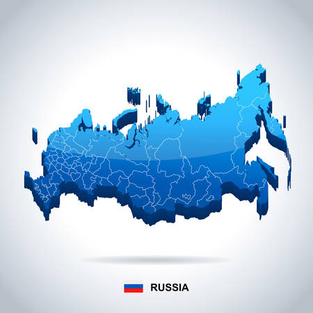 geographical locations: Russia map and flag - highly detailed vector illustration