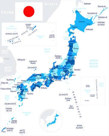 Japan Karte und Flagge - sehr detaillierte Vektor-Illustration