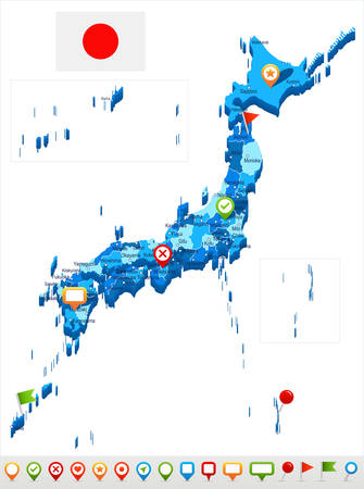 Japan map and flag - highly detailed vector illustration Illustration