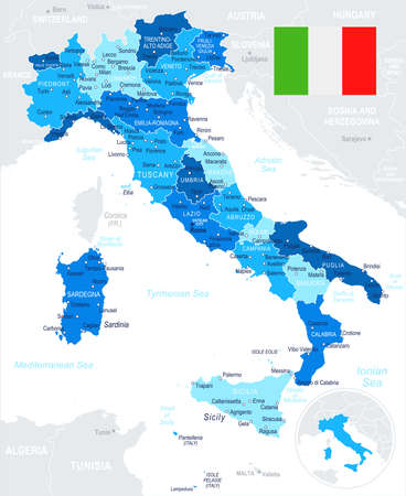Italy map and flag - highly detailed vector illustration Illustration