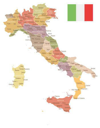 Italy map and flag - highly detailed vector illustration