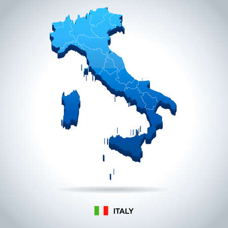 Italy map and flag - highly detailed vector illustration Vectores