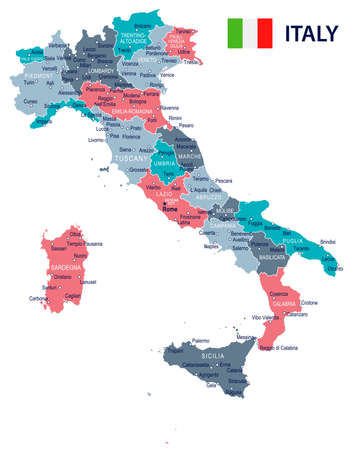 イタリアの地図と国旗 - 非常に詳細なベクトル図