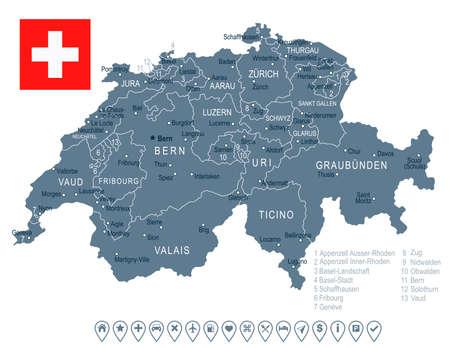 Suiza mapa y la bandera - muy detallada ilustración vectorial Ilustración de vector