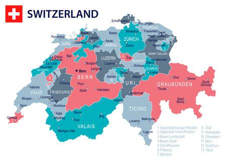 Carte et drapeau de la Suisse - illustration vectorielle très détaillée Banque d'images - 79144543