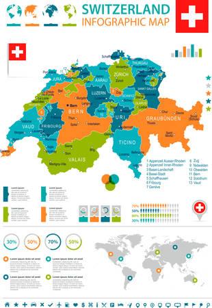 Carte et drapeau de la Suisse - illustration vectorielle très détaillée Banque d'images - 79300078