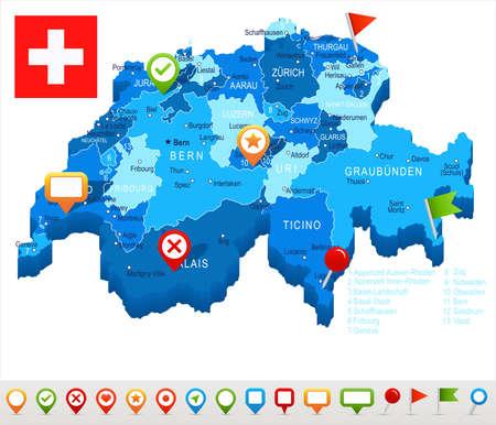 Suiza mapa y la bandera - muy detallada ilustración vectorial