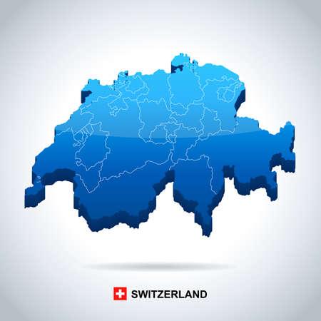 Carte et drapeau de la Suisse - illustration vectorielle très détaillée Banque d'images - 79300080