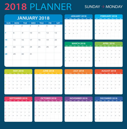 2018 calendar planner - Sunday to Monday