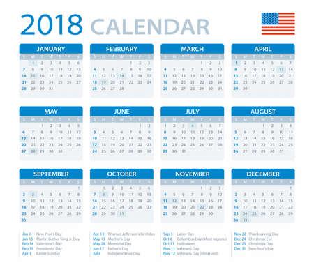 version: Calendar 2018 - American Version - vector illustration