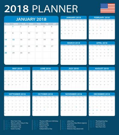 version: Planner 2018 - American Version - vector illustration Illustration