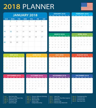 Planner 2018 - American Version - vector illustration Vectores