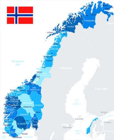 ノルウェーの地図と国旗 - 非常に詳細なベクトル図  イラスト・ベクター素材