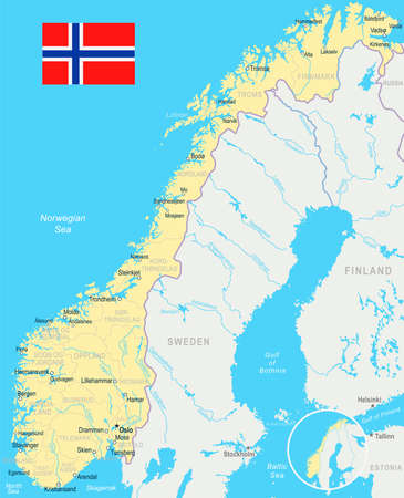 Norway Map Vector Cliparts Stock Vector And Royalty Free - Norway map detailed