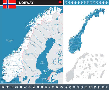 Norway map and flag - highly detailed vector illustration
