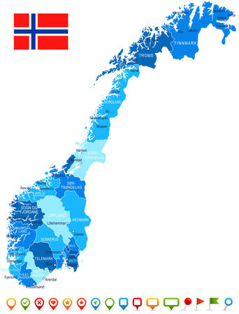 provinces: Norway map and flag - highly detailed vector illustration