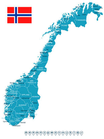 norway flag: Norway - map and flag - vector illustration