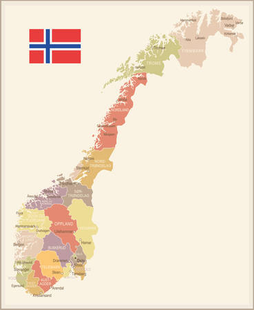 provinces: Norway - vintage map and flag - vector illustration
