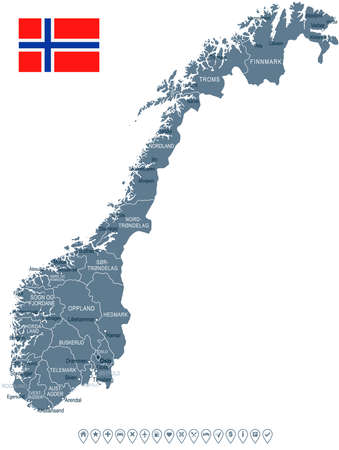 Norway - map and flag - vector illustration