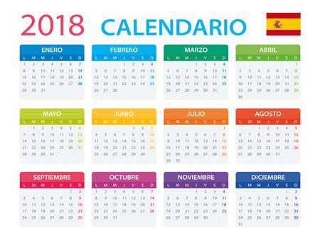 Calendar 2018 - Spanish Version - vector illustration
