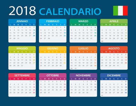 Calendar 2018 - Italian Version - vector illustration