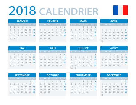 Calendrier 2018 - Version française - illustration vectorielle Banque d'images - 80228005