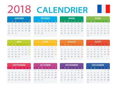 Kalender 2018 - Französische Version - Vektor-Illustration Vektorgrafik