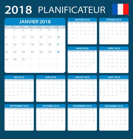 calendrier: Planner 2018 - French Version - vector illustration Illustration