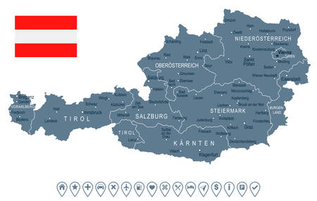 Austria map and flag - vector illustration