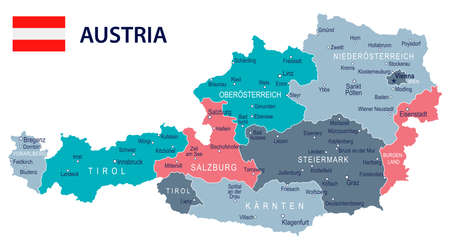 Austria map and flag - vector illustration