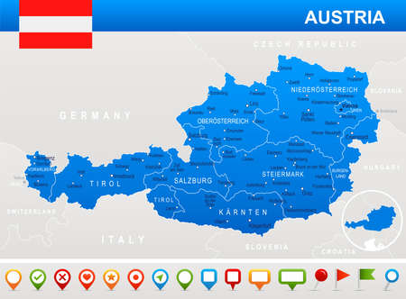 linz: Austria map and flag - vector illustration