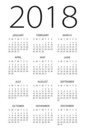 Kalender 2018 jaar - vectorillustratie Stock Illustratie