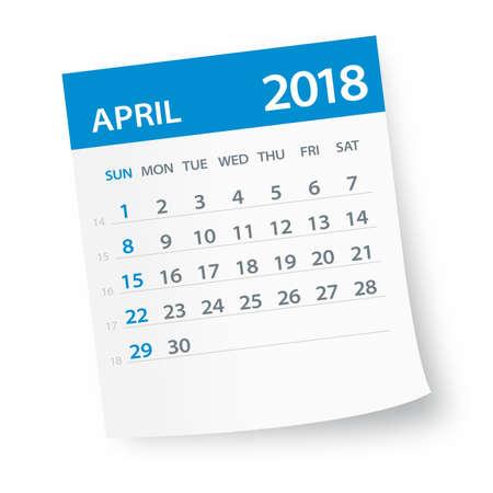 April 2018 Calendar Leaf - Vector Illustration Illustration