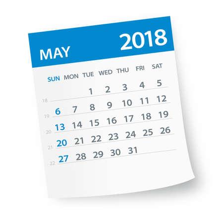 Hoja del calendario de mayo de 2018 - ilustración vectorial Ilustración de vector