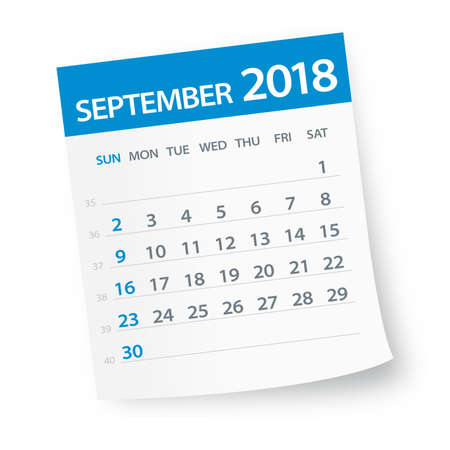 September 2018 Calendar Leaf - Vector Illustration