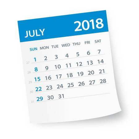 Julio 2018 Hoja de calendario - ilustración vectorial