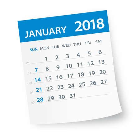 Enero 2018 hoja de calendario - ilustración vectorial