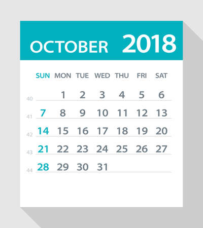 calendar page: October 2018 Calendar Leaf - Vector Illustration