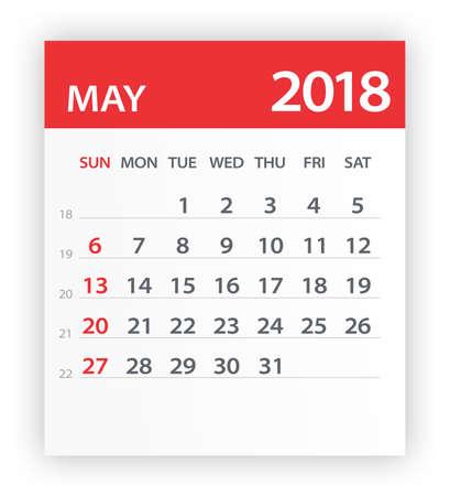 Mei 2018 Kalenderblad - Vectorillustratie