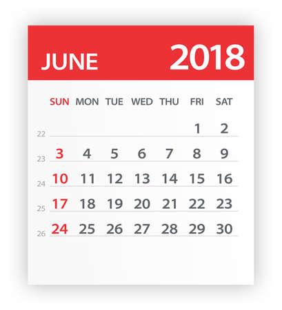June 2018 Calendar Leaf - Vector Illustration