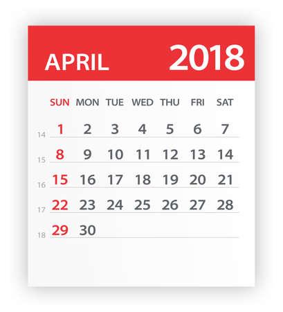 April 2018 Calendar Leaf - Vector Illustration Illusztráció