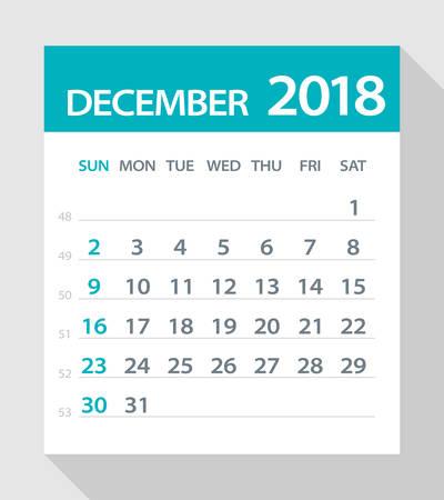 2018 年 12 月カレンダー葉 - ベクトル図 写真素材 - 80602312