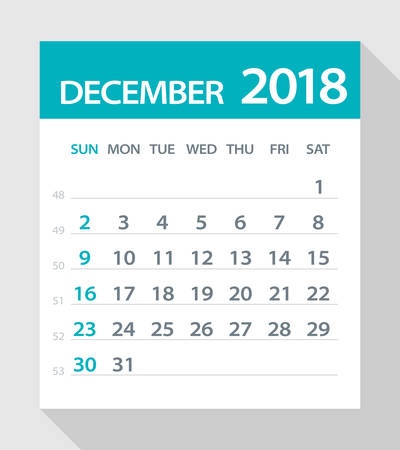 calendar page: December 2018 Calendar Leaf - Vector Illustration