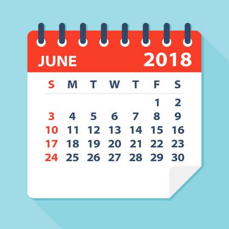 June 2018 Calendar Leaf - Flat Vector Illustration
