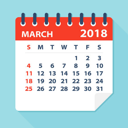 calendar page: March 2018 Calendar Leaf - Flat Vector Illustration
