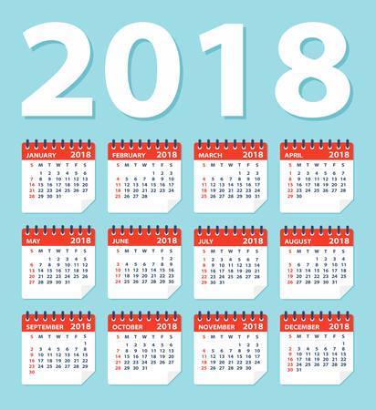 Calendar 2018 Flat Leaves - Vector Illustration