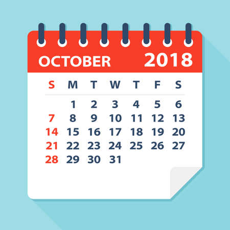 thursday: October 2018 Calendar Leaf - Flat Vector Illustration